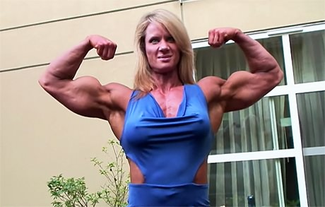 Tall muscular blonde Amazon posing and flexing her huge muscles from wonderful katie morgan