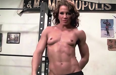 Beautiful Fitness Goddess flexing naked after heavy gym workout from wonderful katie morgan
