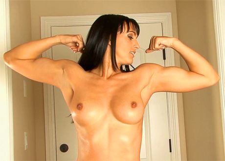 Cute and sexy Fitness babe posing and flexing her biceps from wonderful katie morgan