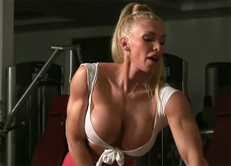 Sexy busty Fitness blonde working out from wonderful katie morgan